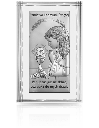 Pamiątka I Komunii dla Dziewczynki: obrazek srebrny - Beltrami