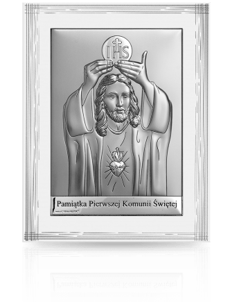 Obrazek srebrny na Komunię: pamiątka komunijna - Beltrami