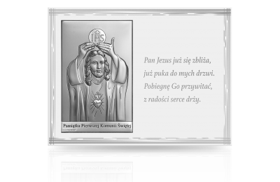 Obrazek srebrny na Komunię: pamiątka komunijna