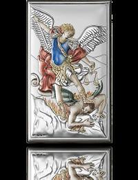 Archanioł Michał: obrazek srebrny koloryzowany - Valenti & Co