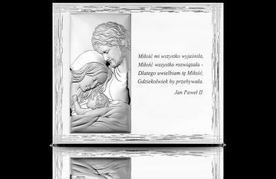 Święta Rodzina: Obraz srebrny na drewnianym panelu - Valenti & Co
