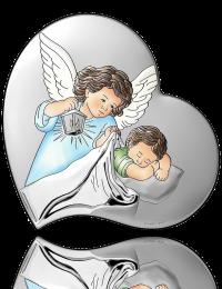 Aniołek nad dzieckiem: obrazek srebrny - Beltrami