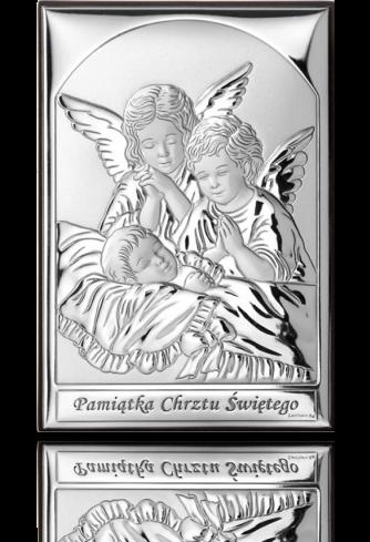 Aniołki przy dziecku: obrazek srebrny - Valenti & Co